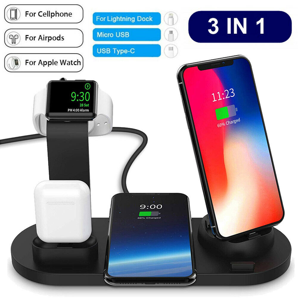 Qi Wireless Multi Functional 9918 Fast Charger Stand Dock 3in1 For Watch IP 8 X Xs XR Android Phones For Airpod