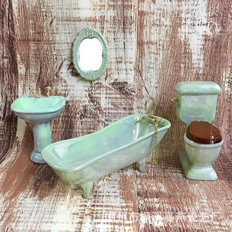 1/12 4pcs/set Miniature  Bathtub Toilet Sink Mirror Dollhouse Bathroom Accessories For Dollhouse Decals New Arrival