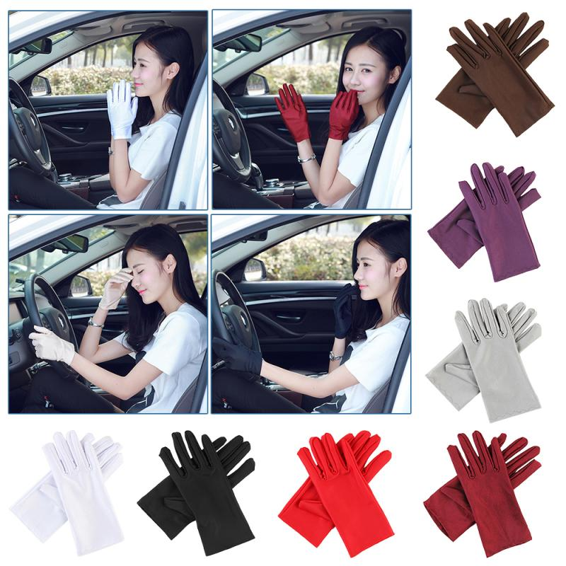 1Pair Unisex Summer Ice Silk High Elastic Spandex Inspection Jewellery Gloves Show Etiquette Sunscreen Cotton Thin Work