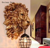 European style retro gold lion head wall lamp living room background wall corridor luxury atmosphere led lion crystal wall lamp