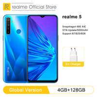 "Realme 5 4GB RAM 128GB ROM 6.5 ""Moblie Telefon Snapdragon 665 AIE Octa Core 12MP Quad Kamera handy 5000mAh 10W lade power"