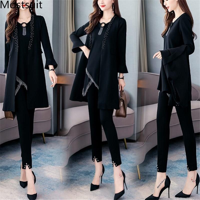 Black 3 Piece Sets Outfits Women Plus Size Tassels Sleeveless Cardigan+long Sleeve Tops+pants Suits Elegant Korean Sets 2019