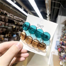 Creative Colorful Transparent 4 Button Small Round Hairpins Cute Girl Hair Clip Accessories Headwear for Women