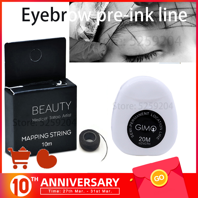 Pre-Inked Brow Mapping String For Microblading, Microshading, Cosmetic Tattooing, Permanent Makeup Artist Perfect Measuring Tool