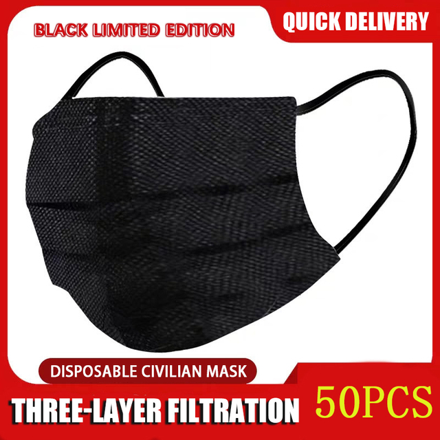 10/50/100 Pcs Mouth Mask Disposable Black Cotton Mouth Face Masks Non-woven Mask  3 Filter Activated Anti Pollution