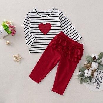 Bahar çizgili kız giysileri çocuk giyim seti 2 adet uzun kollu üstleri Tee + fırfır şarap kırmızı pantolon kalp şekilli bebek kız kıyafet D30