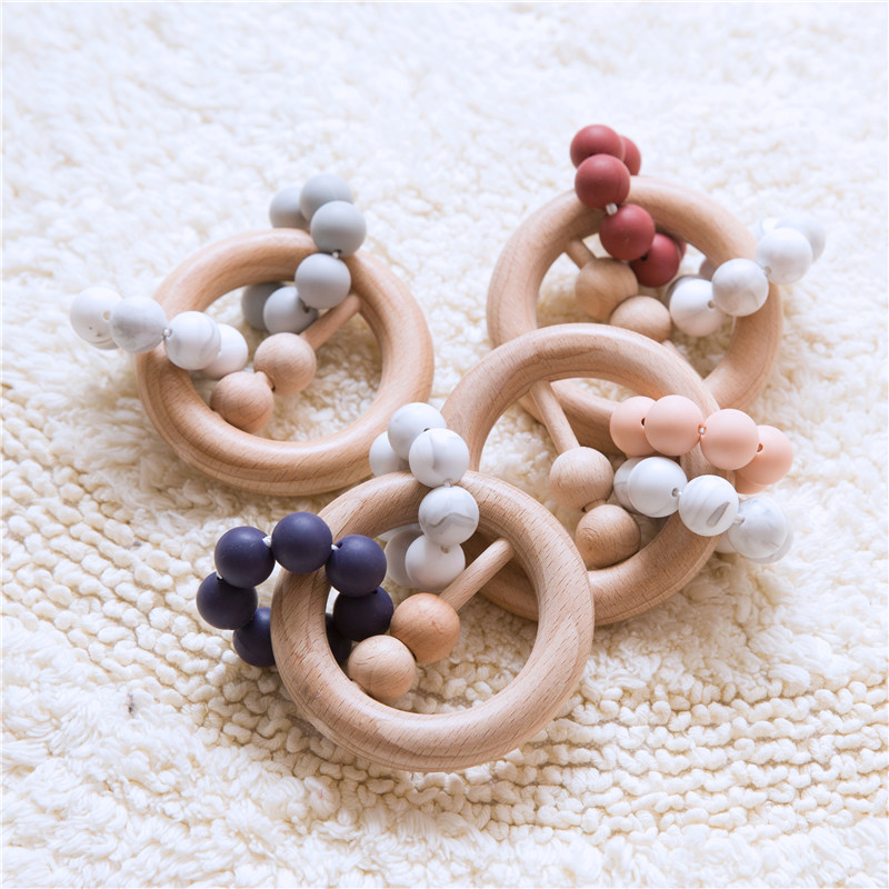 Handmade Wooden Teether Natural Leaves Shaped Silicone Beads Baby Teething Nursing Beech Teether DIY Bracelets Baby Toys Newly