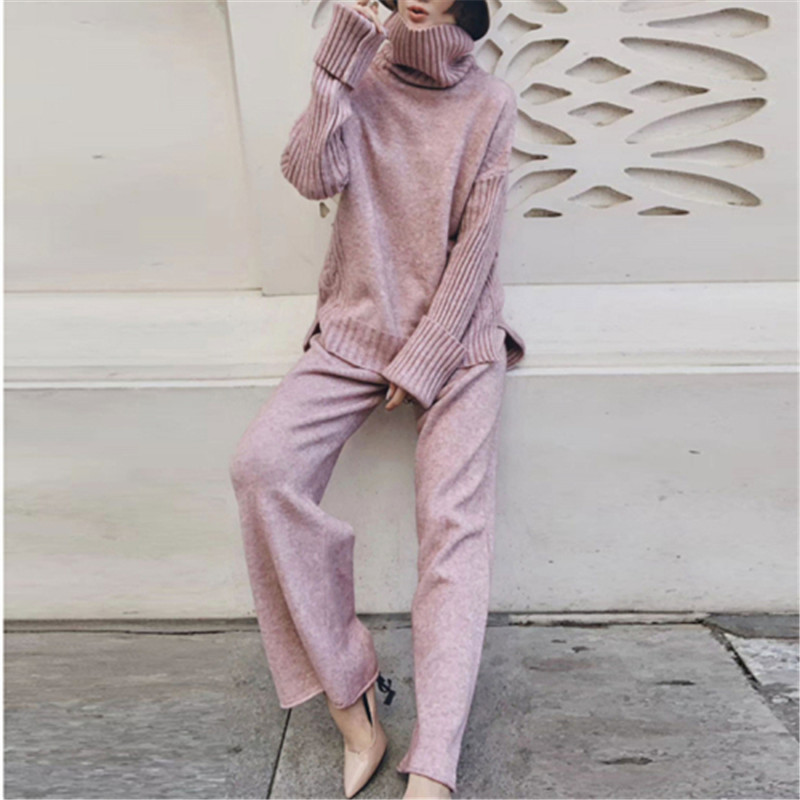 CBAFU Autumn Winter Tructleneck Sweater Set Knitted 2 Piece Set Women Pants Suit Loose Knit Sets Pullovers Female Tracksuit P787