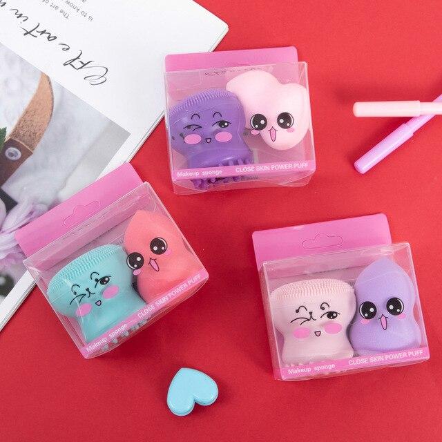 2PCS Silicone Facial Washing Brush Facial Skin Care Cleaning Beauty Egg Gourd Shaped Beauty Sponge Puff Beauty Tool Set