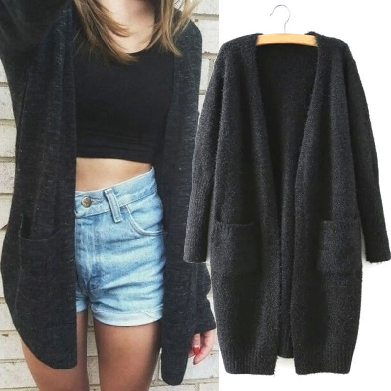 Winter Long Sleeve Knitted Cardigan Women Fluffy Sweater Pocket Outwear Coat Jacket Ladies Basic Sweater Black