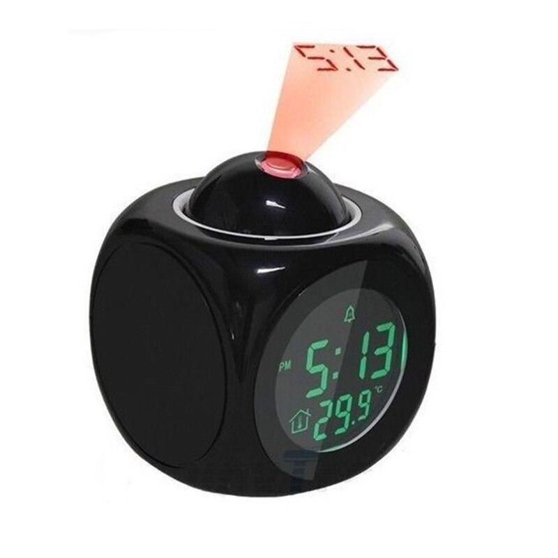 Reloj despertador de Voz Digital con pantalla de proyección LED, función de termómetro con indicación de voz multifunción, regalo para niños Mini cámara para niños juguetes educativos para niños regalos para bebés cumpleaños cámara digital de regalo 1080P cámara de vídeo de proyección
