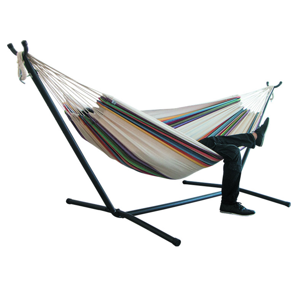 200*150cm Indoor/Outdoor Camping Hammock Hanging Chair Durable Comfort Thick Canvas Stripe Hammocks Hanging Chairs Without Shelf