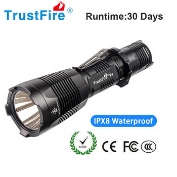 Trustfire T4 Tactical Led Flashlight 18650 Led Torch Camping Flash Light 5 Switch Modes Battery Waterproof Torch Light uniquefire 5 modes 1200lm 1605 67 lens tactical flashlight cree xml torch led waterproof flash light 18650 rechargeable battery