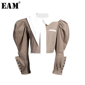 EAM Pleated-Shirt Spliced Women Blouse Long-Sleeve Fashion Panelled-Button Spring Loose