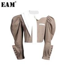[EAM] بلوزة نسائية جديدة بطية صدر وأكمام طويلة فضفاضة تناسب زر ملتف مطوي موضة المد ربيع خريف 2019 JZ325