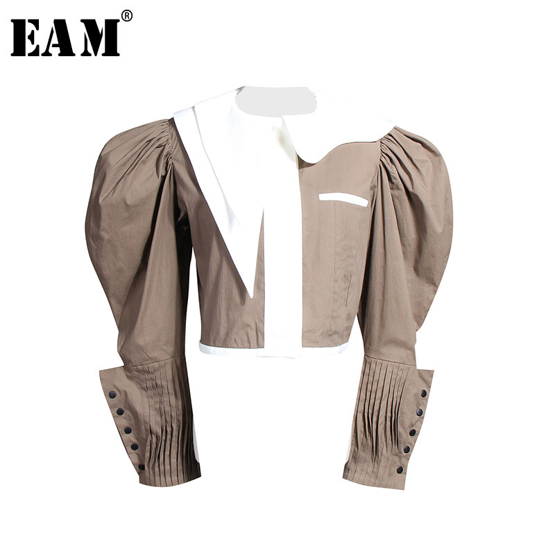 [EAM] Women Blouse New Lapel Long Sleeve Loose Fit Spliced Panelled Button Pleated Shirt Fashion Tide Spring Autumn 2020 JZ325