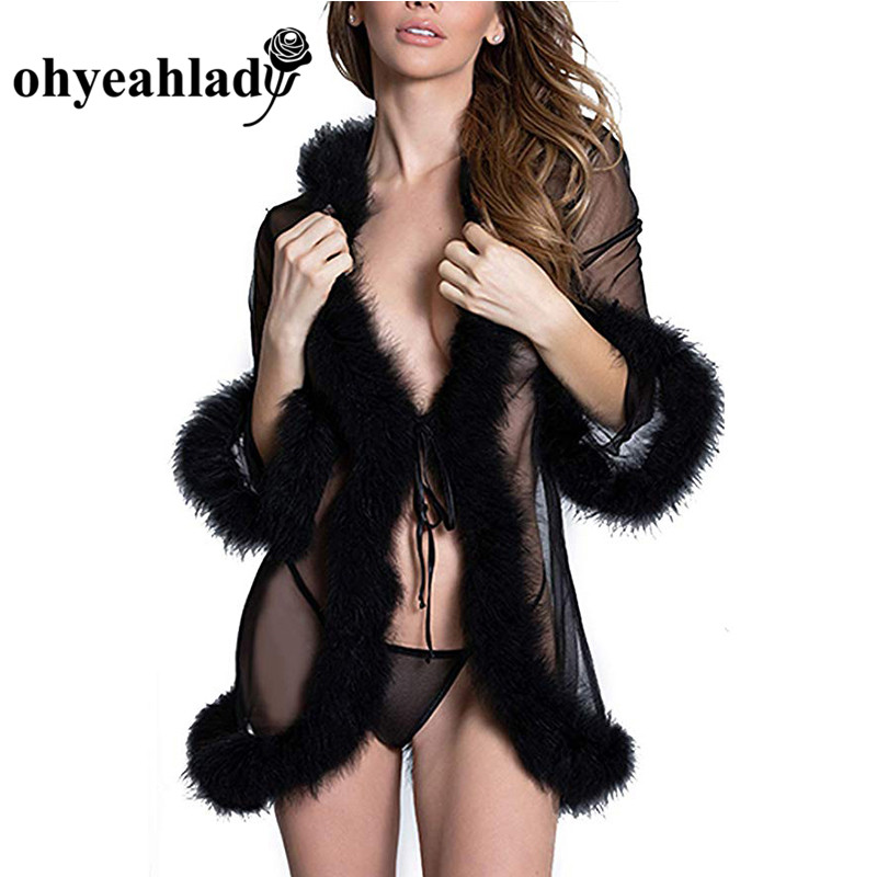 Ohyeahlady Lace Lingerie Robe Patchwork Feathers Babydoll Sleepwear Full Sleeve Sexy Women Erotic Transparent Lace-up RJ80919