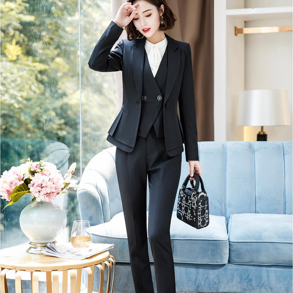 Ruffle Blazer Jackets Coat With Trousers Women Business Elegant Pant Suits Largest Size 5XL For Work