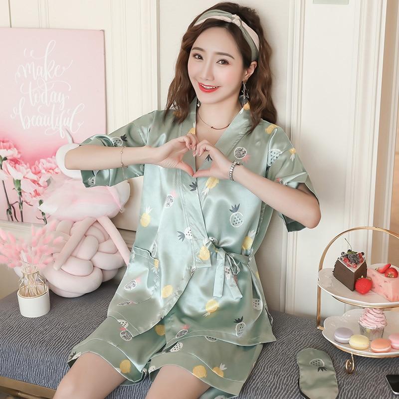 Japanese-Style Kimono Pajamas Summer Silk-like Short Sleeve Korean-Style Fresh Students Home Service Two-Piece Set Can Ou
