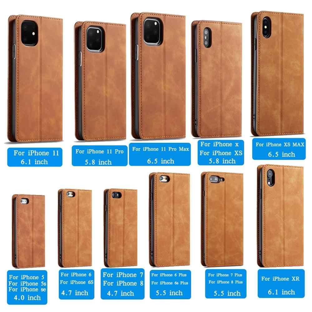 Luxe Magneet Lederen Flip Telefoon Case Voor Iphone Xs Xr X R 11 12 Mini Pro Max 8 7 6 6S Plus 5 S Se 2020 Wallet Kaarthouder Cover