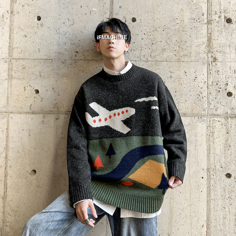 Winter Cartoon Sweater Men Warm Fashion Sweter Clothes Casual Knit Sweater Man Streetwear Wild Loose Long-sleeved Pullover Men