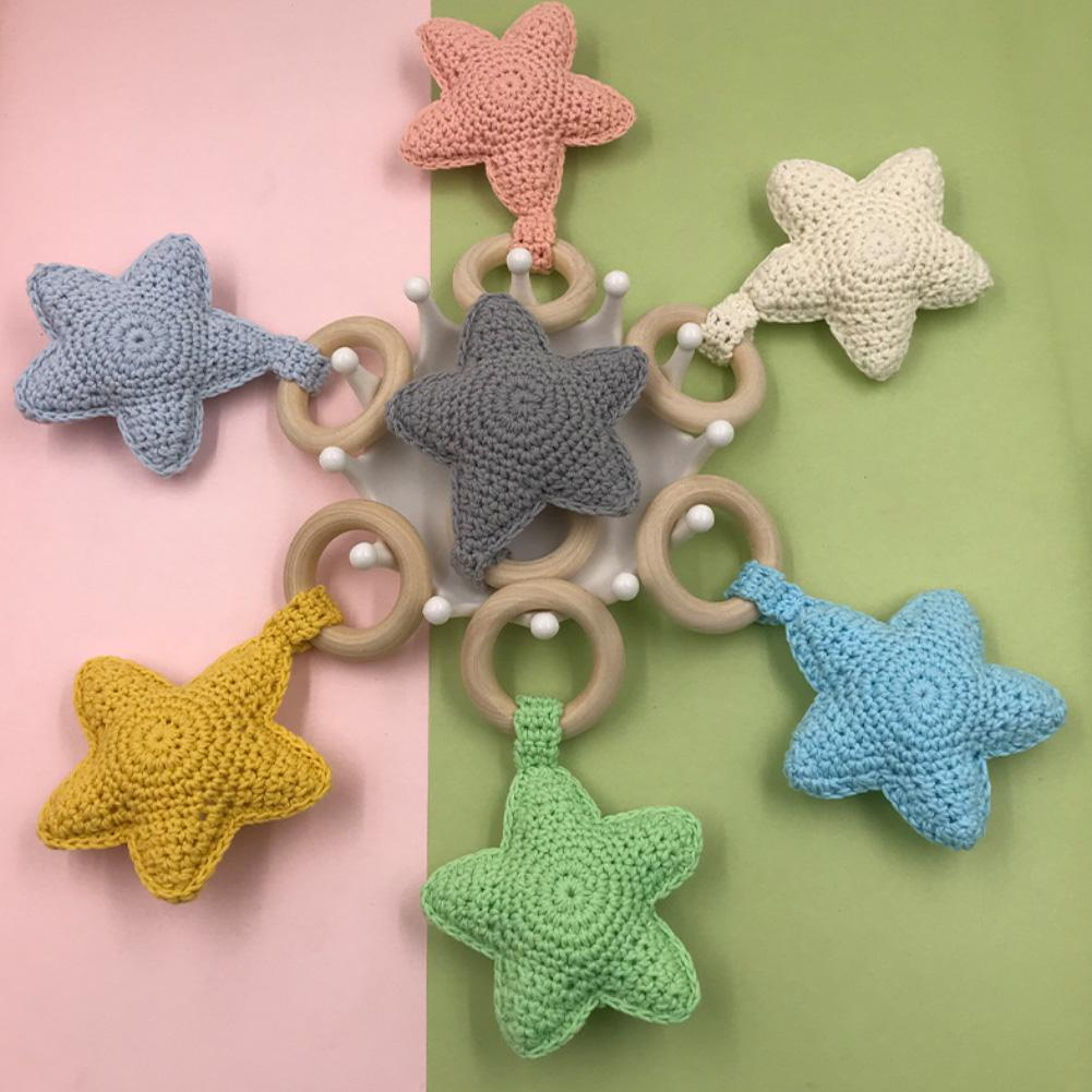 DIY Baby Woolen Star Teether Children Teething Nursing Bracelet Color Crochet Pentagram Baby Molar Bracelet Necklace Teether Toy