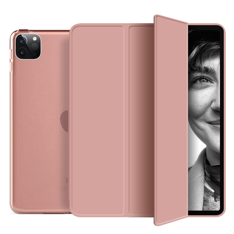 rose gold Pink Funda For iPad Pro 2020 12 9 inch 4th Case PU Leather Trifold Stand PC Hard