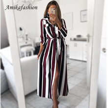 2019 Office Lady Turn-Down Collar Button Lace Up Long Shirt Dress Women Autumn Spring Long Sleeve Stripe Maxi Dresses Clothing 0 women striped long shirt dress turn down collar button dress autumn spring long sleeve stripe maxi dresses loose vestidos