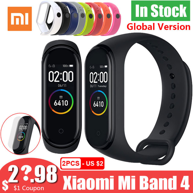 Смарт браслет Xiaomi Mi Band 4 Band 4, глобальная версия, цветной экран 3, пульсометр, фитнес музыка, водонепроницаемость 50 м, Bluetooth