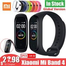 새로운 글로벌 버전 샤오미 mi Band 4 Band4 Smart mi band 3 컬러 스크린 팔찌 심박수 피트니스 음악 50M 방수 블루투스