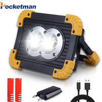 100w Rechargeable LED Work Lights,5000 Lumens Waterproof Led Flood Light,with USB Port to Charge Mobile Devices(Round Cob)