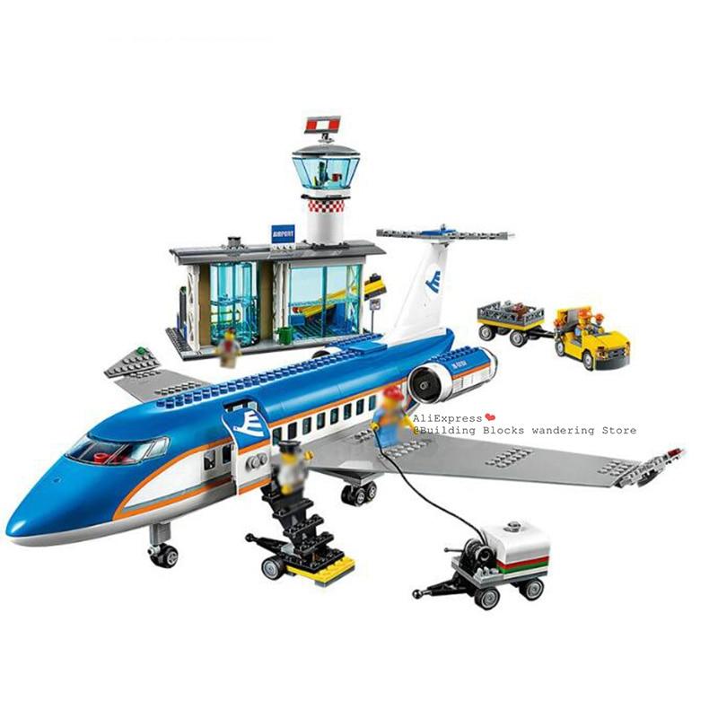 Lepining City 02043 Plane International Airport Airbus Aircraft Airplane Building Blocks Sets Figures Bricks Toys For Children
