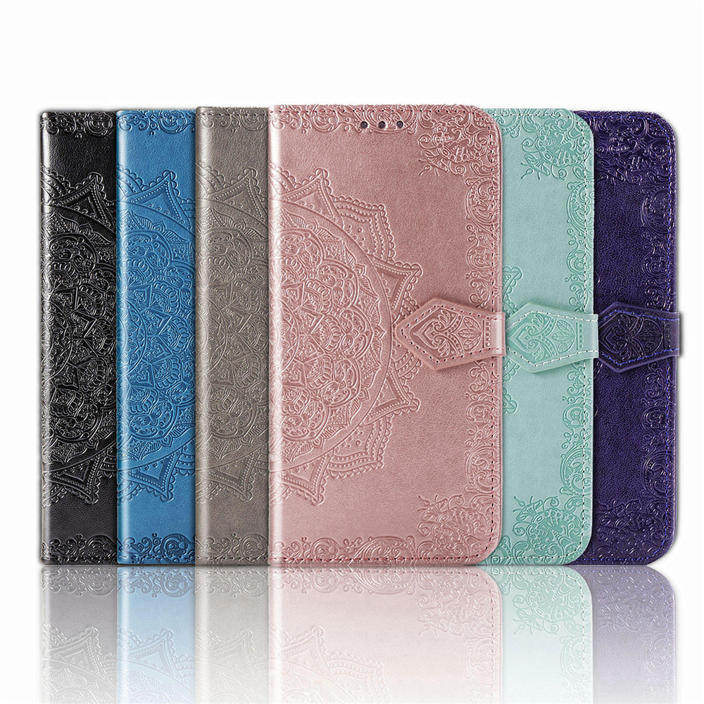 Luxury Mandala Flip Leather <font><b>Case</b></font> For <font><b>OPPO</b></font> <font><b>A5</b></font> 2020 A9 2020 A57 A7X <font><b>Wallet</b></font> Style Solid Color Phone <font><b>Case</b></font> Funda With Stand function image