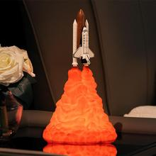 HobbyLane 3D Printing Rocket Shape Night Light for Space Lovers Room Decoration