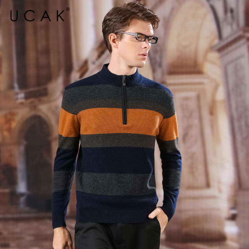 UCAK Brand Pure Merion Wool Sweater Men 2020 Zipper Striped O-Neck New Fashion Trend Pull Homme Casual Sweaters Pullover U3174