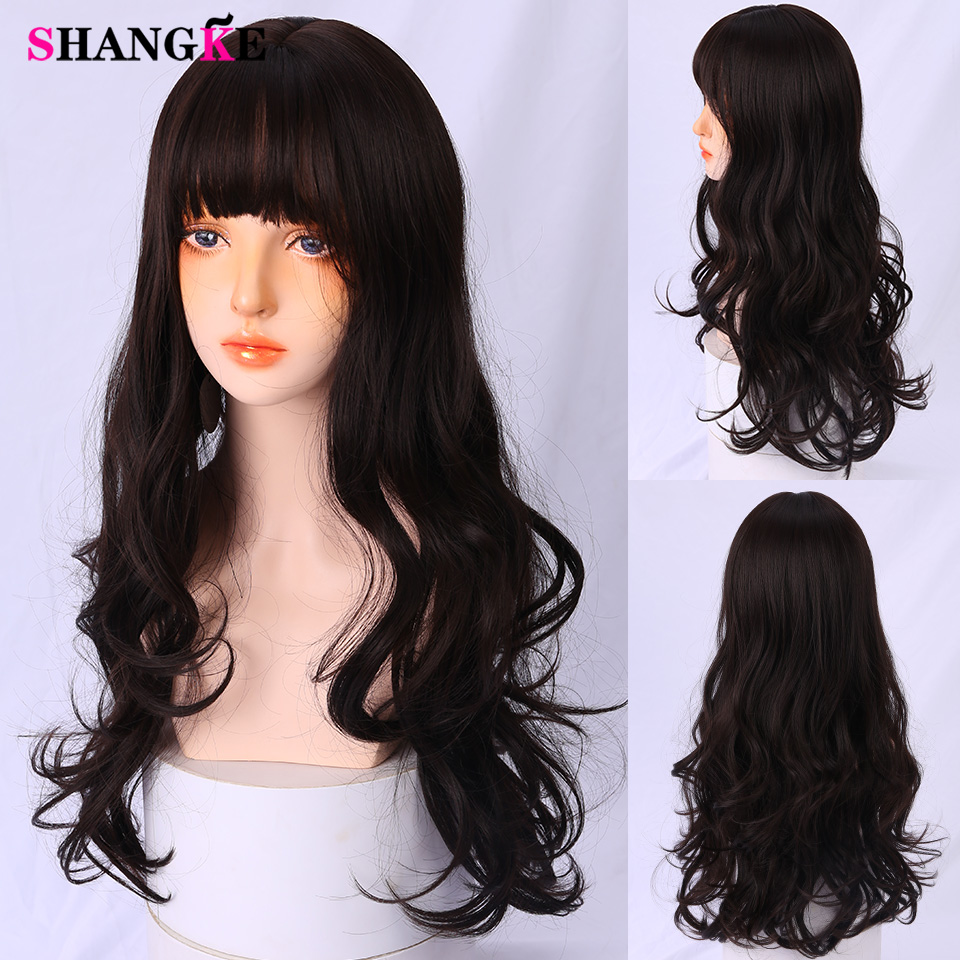 SHANGKE Curly Black Cosplay Synthetic Wigs With Bangs Wigs For Women Medium Length Heat Resistant Lolita Wig
