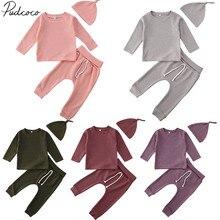 Детская одежда на весну-осень Зимняя Теплая Одежда для новорожденных девочек и мальчиков топы в полоску с длинными рукавами, футболка, Штаны Твердые наряды