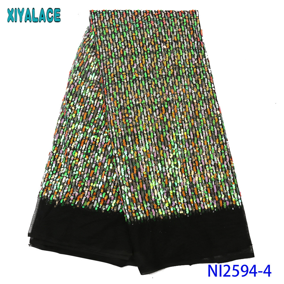 Exclusive French Lace Korean African Net Lace Fabric Unique Shiny Laces With Sequins For Nigerian Wedding Wear KSNI2594