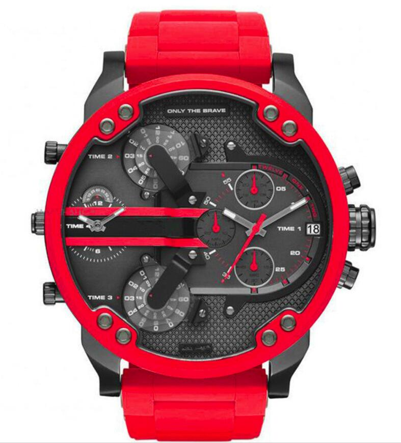 Brand Red Luxury Big Leather Watch Men Dual Time Display Quartz Wrist Watch With Stainless Steel Band Quartz Wristwatches