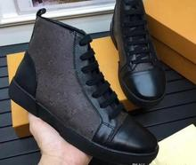 high quality New Famous Designer High help lace-up Genuine Leather Casual Shoes Fashion Brand Men Flats Shoes Original Box 2017 new british style men casual soft genuine leather shoes canvas leisure fashion famous brand high quality black brown red