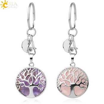 CSJA Natural Stone Keychains Silver Color Tree of Life Keyring Healing Crystal Car Bag Wallet Decor Keyholder for Women Men G498 - discount item  60% OFF Fashion Jewelry