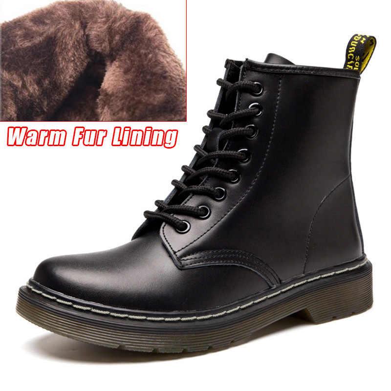 נשים מגפי מרטין מגפי עור אמיתי קאובוי קרסול מגפי חורף נעלי אישה פאנק נעלי מגפיים לבנים בתוספת גודל 42 43