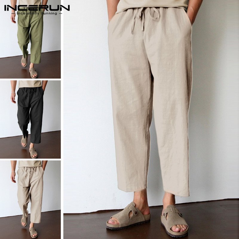 INCERUN 2019 Casual Pants Men Cotton Joggers Retro Vintage Workout Sweatpants Drawstring Baggy Trousers Men Pantalon Hombre 5XL