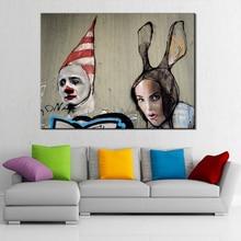 Abstract painting Banksy Graffiti poster clown posters canvas pop art wall prints living room christmas Decor