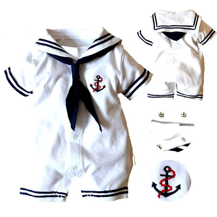 Baby Boy Clothes Infant Anchor Sailor Romper Jumpsuit Outfits New Clothes