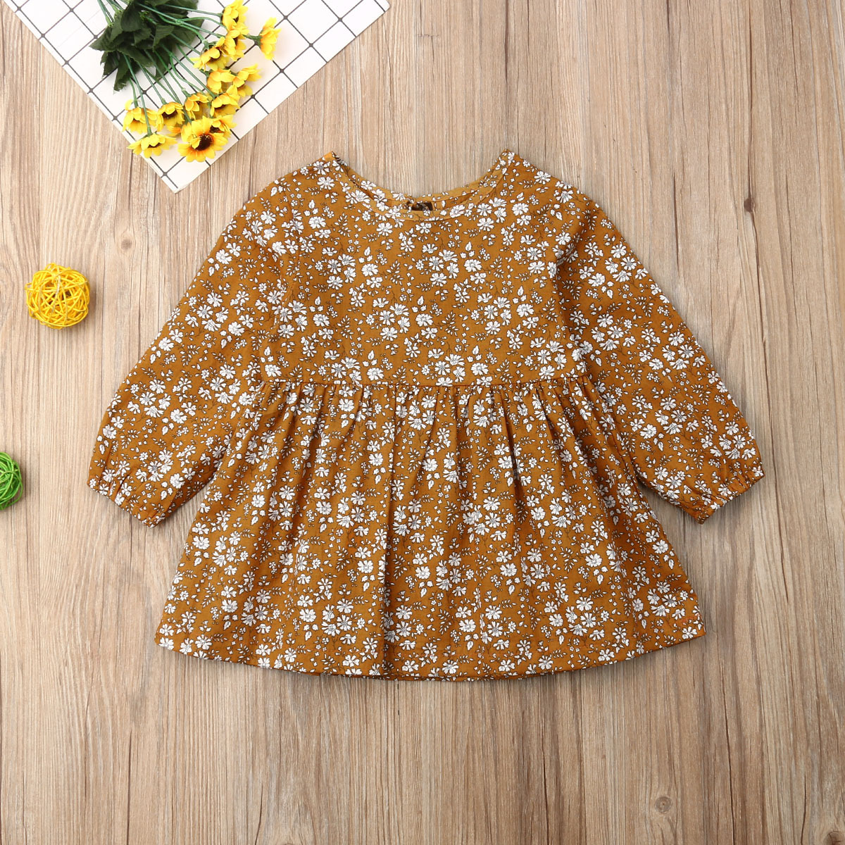 Pudcoco Autumn Toddler Baby Girl Clothes Long Sleeve Flower Print Mini Dress Tutu Casual Dress Autumn Clothes 6M-4Y