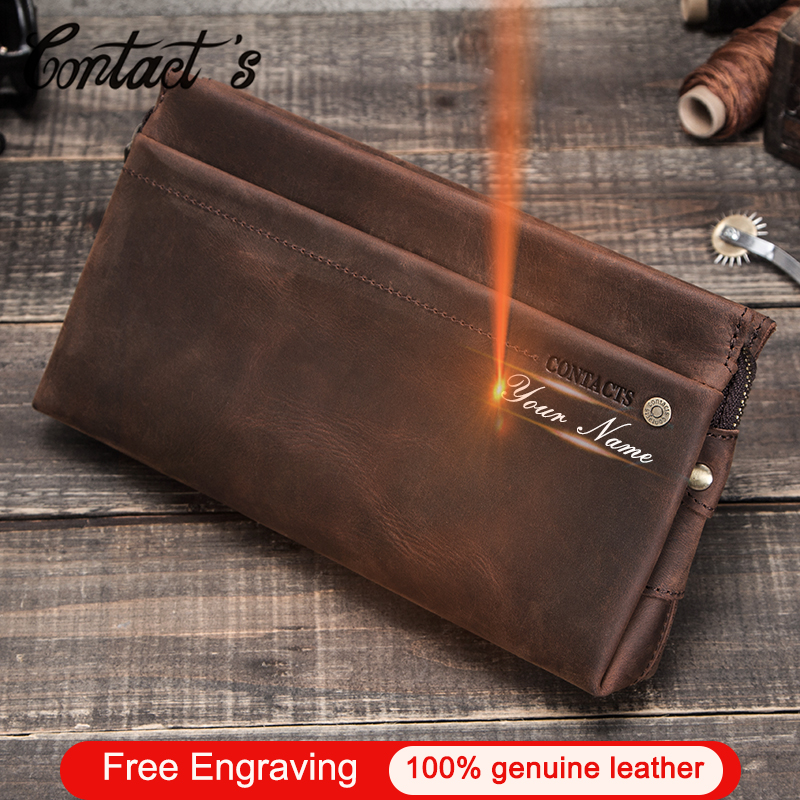 Contact's Men Clutch Bags Large Capacity Crazy Horse Leather Men's Wallet Cell Phone Pocket Multifunction Card Holder Long Purse