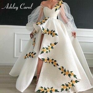 Image 1 - Seksi sevgiliye dantel düğün elbisesi 2020 puf kollu 3D çiçekler Lace Up yüksek/düşük A Line Ashley Carol gelin kıyafeti Vestido De noiva