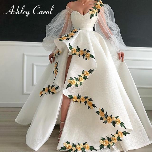 Seksi sevgiliye dantel düğün elbisesi 2020 puf kollu 3D çiçekler Lace Up yüksek/düşük A Line Ashley Carol gelin kıyafeti Vestido De noiva