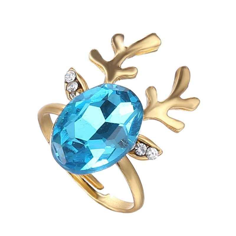 คริสต์มาสแหวนเคลือบการ์ตูนซานตาคลอส Xmas Tree รูปร่างน่ารักแหวน LX9D